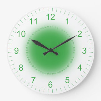 Glowing Green on White Large Clock
