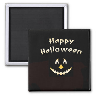 Glowing Halloween Pumpkin Cutout Square Magnet