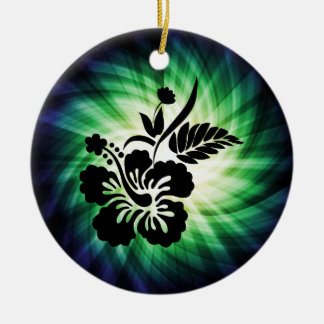 Glowing Hawaiian Flowers Christmas Ornament
