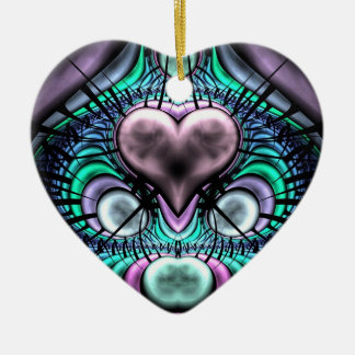 Glowing Heart Fractal Christmas Tree Ornament