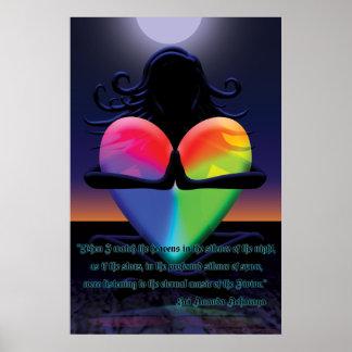Glowing Heart Namaste pose Posters