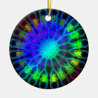 Glowing in the Dark Kaleidoscope art Round Ceramic Decoration