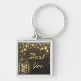 Glowing Jar Of Fireflies Night Stars Thank You Silver-Colored Square Key Ring