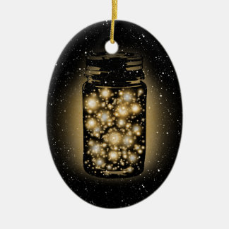 Glowing Jar Of Fireflies With Night Stars Ceramic Oval Decoration