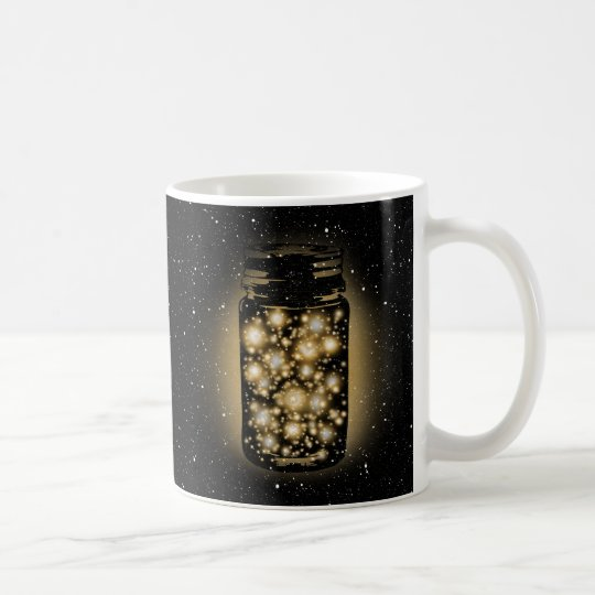 Glowing Jar Of Fireflies With Night Stars Coffee Mug