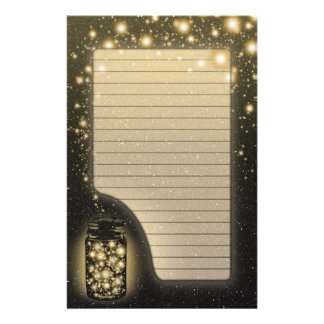 Glowing Jar Of Fireflies With Night Stars Lined Stationery