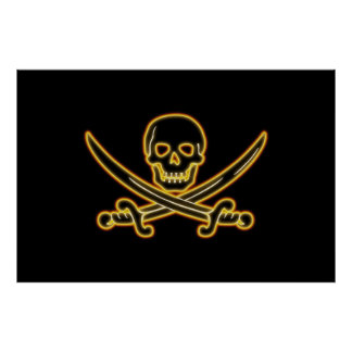 Glowing Jolly Roger Pirate Flag Poster