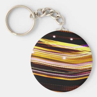 Glowing Light Streaks Basic Round Button Key Ring
