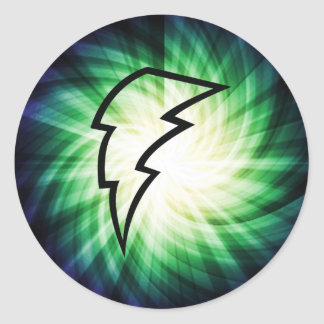 Glowing Lightning Bolt Classic Round Sticker