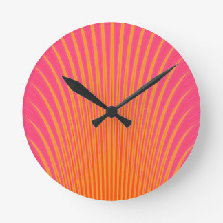 Glowing Lines Yellow Pink Lavender Round Clock
