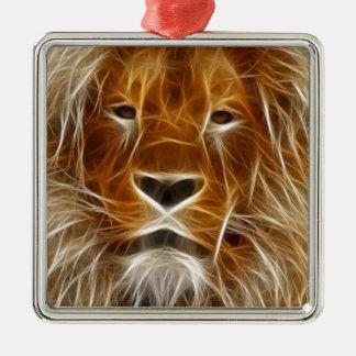 Glowing Lion Portrait Christmas Ornament