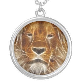 Glowing Lion Portrait Personalized Necklace