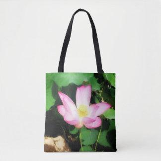 Glowing lotus tote bag