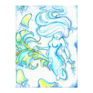 """""""Glowing Mermaid w/ Jellyfish"""" Canvas Wrap"""