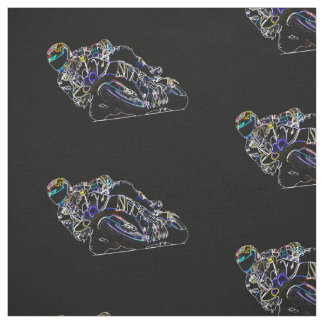 Glowing Motorcycle Rider Circle Racing Sketch Fabric
