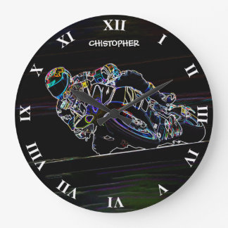 Glowing Motorcycle Rider Circle Racing Sketch Large Clock