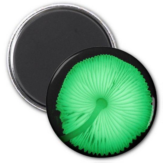 Glowing Mushrooms 6 Cm Round Magnet