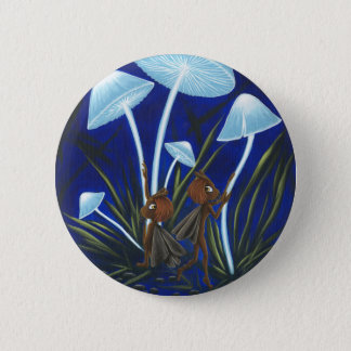 Glowing Mushrooms Moth Fairy Pin! 6 Cm Round Badge