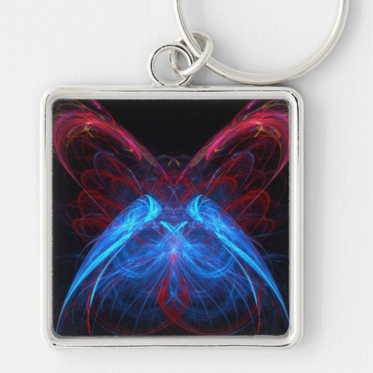 Glowing Neon Butterfly Flame Fractal Abstract Art Silver-Colored Square Key Ring