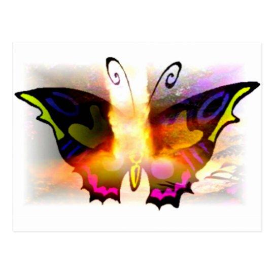 Glowing Neon Fire Butterfly Postcard