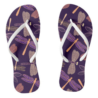 Glowing night dragonflies on dark plum background flip flops
