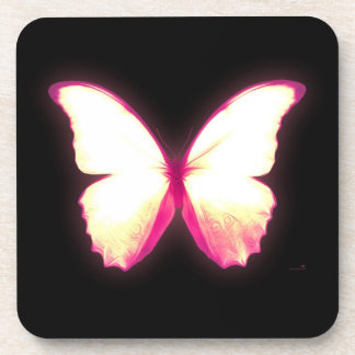 Glowing Pink Butterfly Coaster