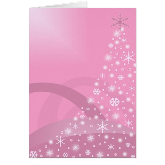 Glowing Pink Christmas Tree Holiday Card