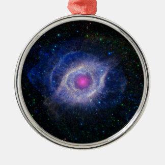 glowing pink eye nebula Silver-Colored round decoration