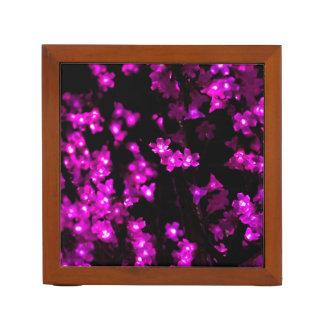 Glowing Pink Flower Lights Desk Organiser