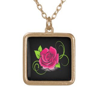 Glowing Pink Rose Necklace