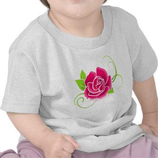 Glowing Pink Rose Tee Shirts