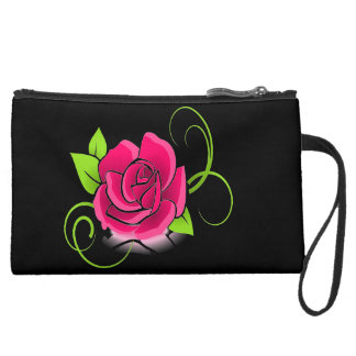 Glowing Pink Rose Wrist Bag