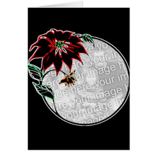 Glowing poinsetta greeting card