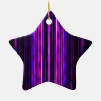 Glowing purple blurred stripes christmas ornament