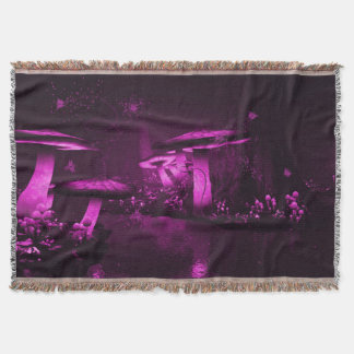 Glowing Purple  Mushrooms Throw Blanket