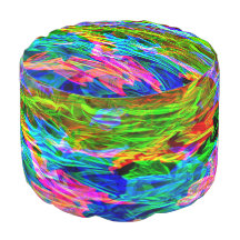 Glowing Rainbow Abstract Round Pouf