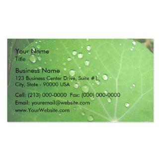 Glowing Raindrops on nasturtium leaf Business Card Template