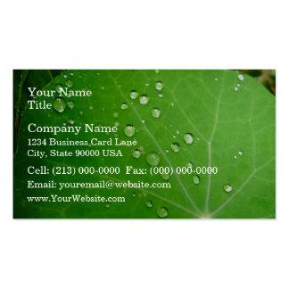 Glowing Raindrops on nasturtium leaf Business Card Templates