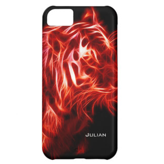 Glowing Red and Black Tiger Personalized Name iPhone 5C Covers