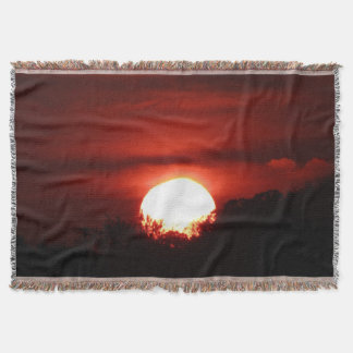 Glowing Red Sunset Throw Blanket