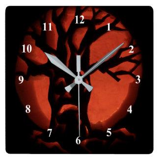 Glowing Scared Dead Tree Halloween Pumpkin Square Wall Clock