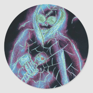 glowing scary skeleton classic round sticker