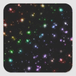 Glowing Shiny Rainbow Stars In Space Square Sticker