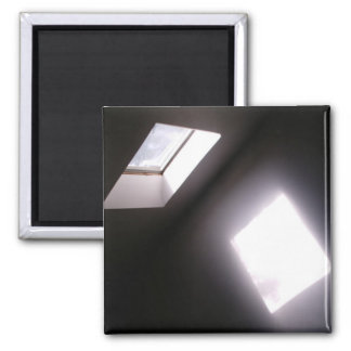 Glowing Skylight Window Minimalist Geometric Photo Square Magnet