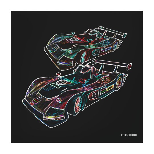 Glowing Sparkling Racing Luxury Neon Colours Cars Canvas