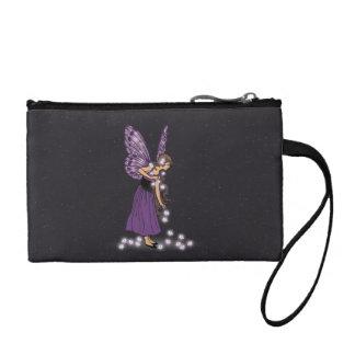 Glowing Star Flowers Pretty Purple Fairy Girl Coin Wallets