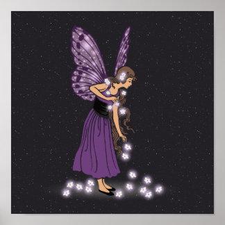 Glowing Star Flowers Pretty Purple Fairy Girl Poster