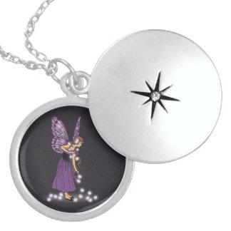 Glowing Star Flowers Pretty Purple Fairy Girl Round Locket Necklace