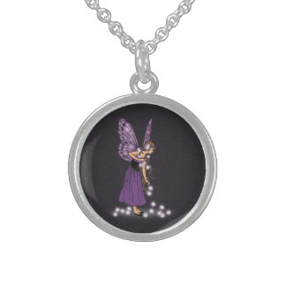 Glowing Star Flowers Pretty Purple Fairy Girl Round Pendant Necklace