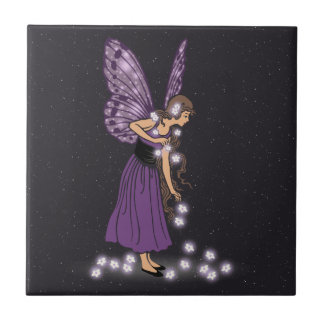 Glowing Star Flowers Pretty Purple Fairy Girl Small Square Tile